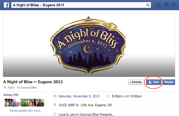 Facebook Events Instruction Step 1