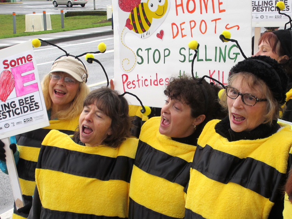 "The bee people sang, ""All we are saying is give bees a chance."""