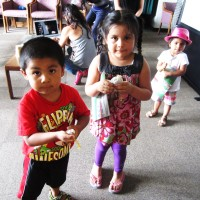 Kids at Beyond Toxics West Eugene asthma workshop