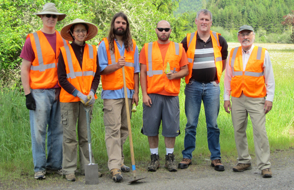 A few members of the May 2012 volunteer weed pulling party on Highway 36, Lane County.