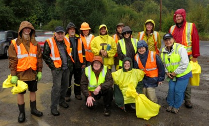 Photo of Weed Pull Volunteers - Sept. 30, 2014 - Lisa Arkin pictured far right (front)