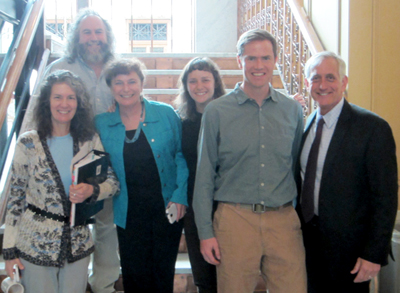 (left to right) Commissioner Amanda Fritz; Bob Salinger, Audubon Society; Lisa Arkin, Beyond Toxics; Lori Ann Burd, Center for Biological Diversity; Rich Hatfield, Xerces Society; Mayor Charlie Hales